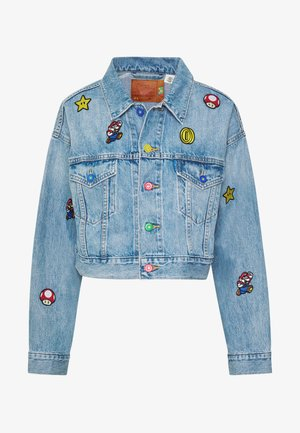 CROP DAD TRUCKER - Jeansjakke - light blue denim