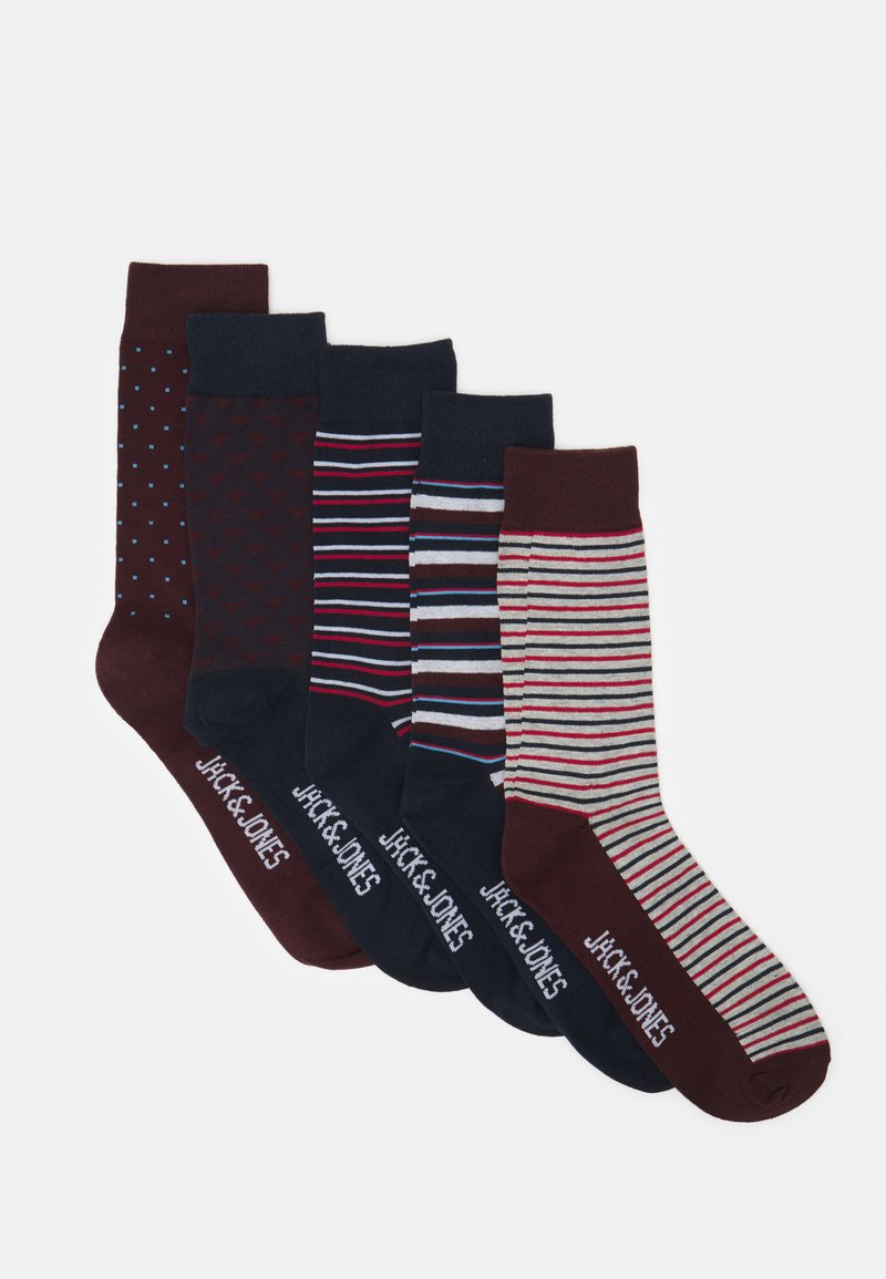 Jack & Jones - JACPORTER SOCKS 5 PACK - Ponožky - red dahlia/port royale/navy blazer