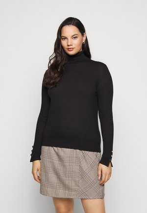 VMMILDA ROLLNECK BUTTON SLIT - Strikkegenser - black