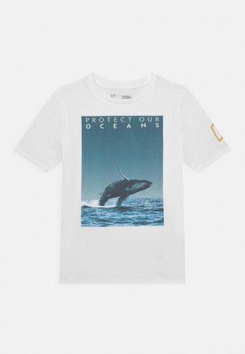 NATIONAL GEOGRAPHIC BOYS OCEANS - Print T-shirt - optic white
