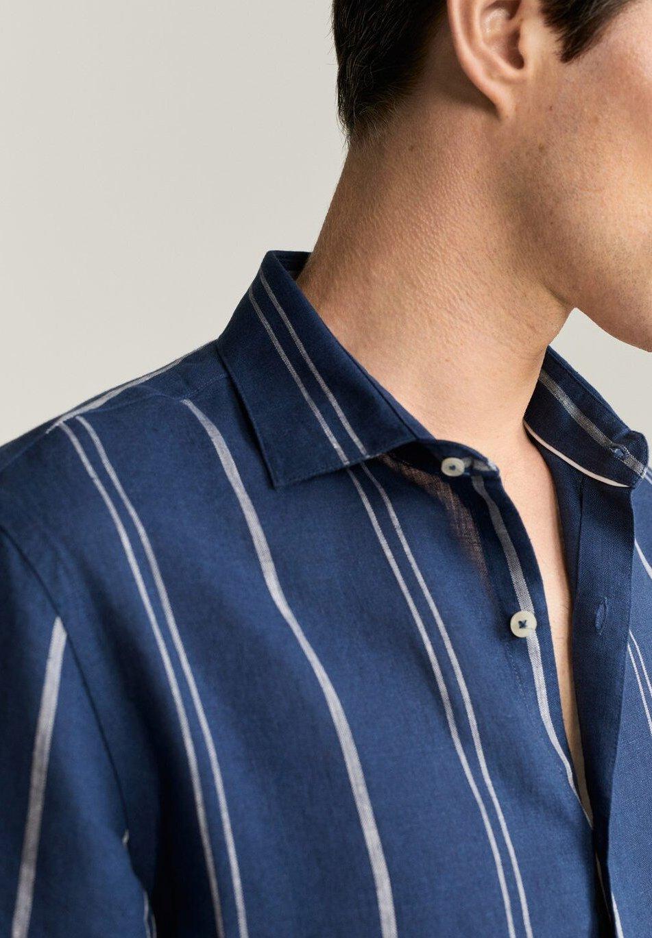Mango SLIM FIT-LEINENHEMD MIT KAROMUSTER TAMI  - Skjorte - dunkles marineblau