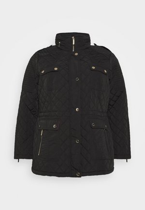 QUILTED CINCHED WAIST JACKET - Light jacket - black