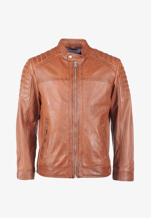 MIT HANDYTASCHE - Leather jacket - cognac