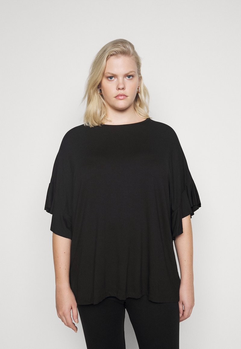 CAPSULE by Simply Be - BOXY RUFFLE SLEEVE  - Basic T-shirt - black