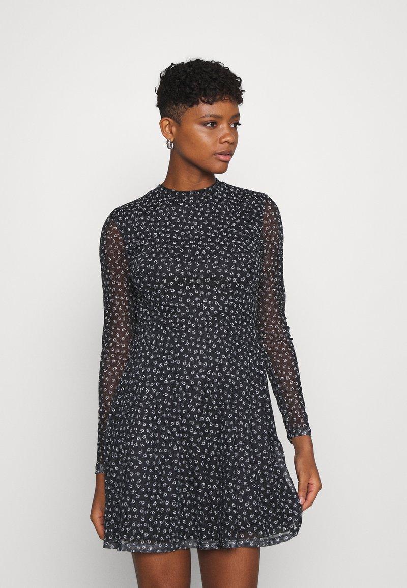 Even&Odd - FLARED ALL OVER MESH MINI DRESS - Day dress - black/white