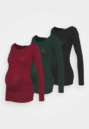 3 PACK - Long sleeved top - black/dark red/dark green