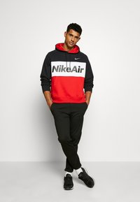 Nike Sportswear - AIR HOODIE - Hoodie - black/white/university red - 1