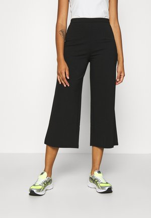 WIDE LEG CROPPED TROUSERS - Bukse - black