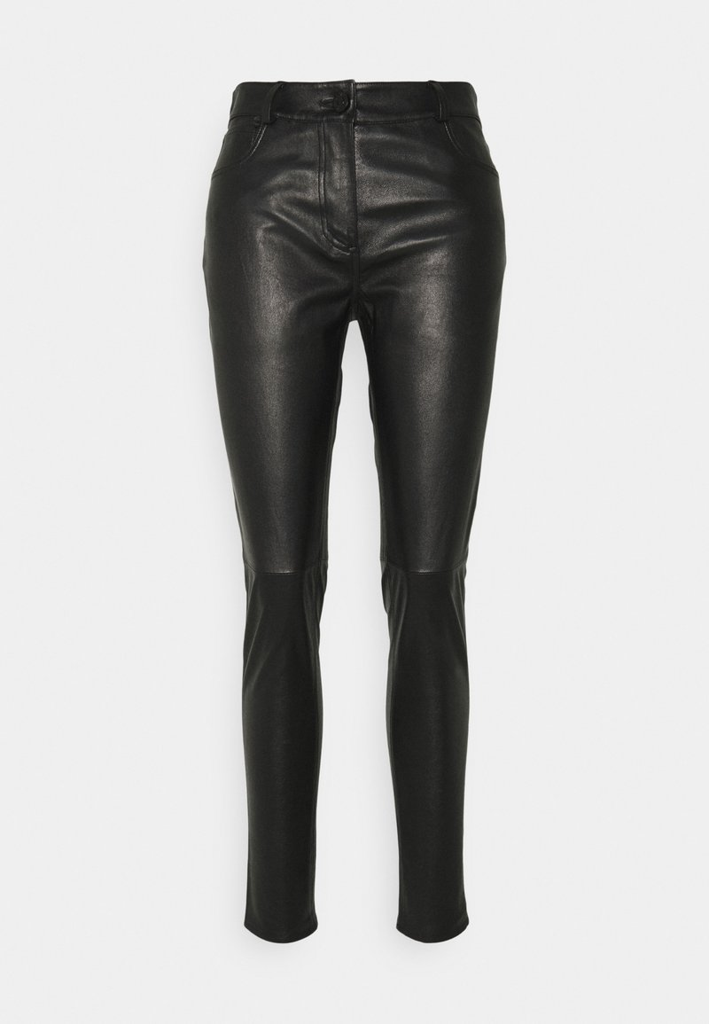 sandro - PAMEL - Leather trousers - noir