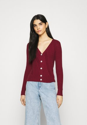 GLITTER BUTTON CARDIGAN - Cardigan - red wine