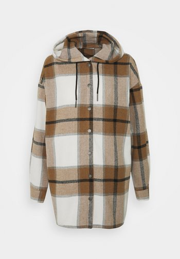 NMFLANNY HOOD LONG SHACKET - Short coat - tigers eye/black/eggnog
