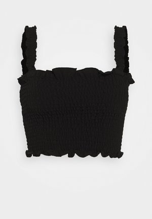 CARE SLEEVELESS SMOCKED CROP WITH RUFFLE TRIM - Top - black