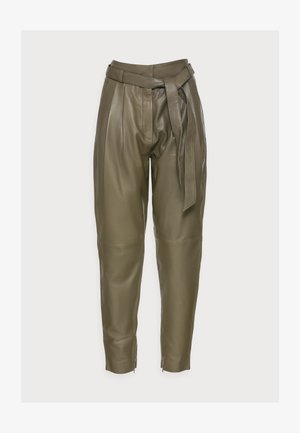 ROYAL ANKLE - Leather trousers - dark olive