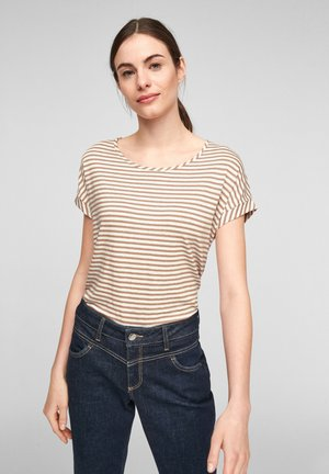 Print T-shirt - caramel stripes