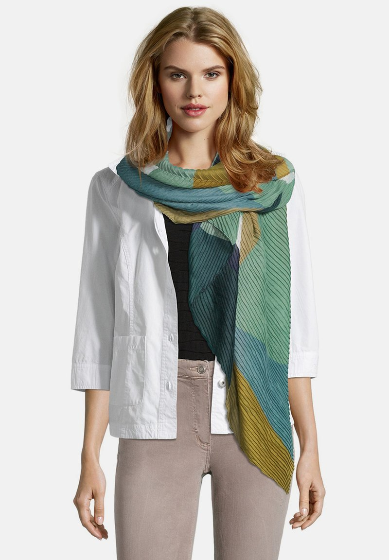 Betty Barclay - BASIC MIT PLISSEE - Scarf - dark blue/green
