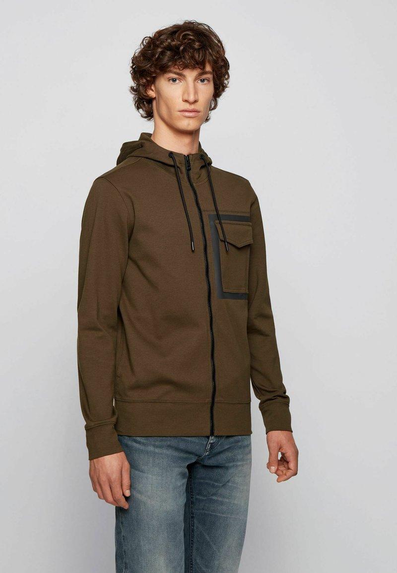 BOSS - Zip-up sweatshirt - open green
