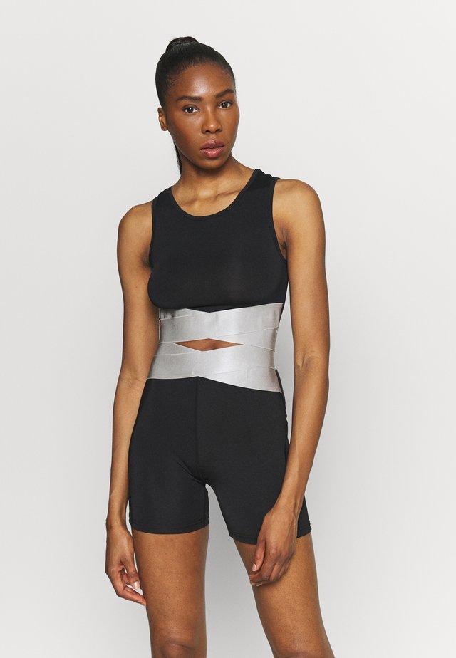 TWIST CROP - Top - silver/white/black