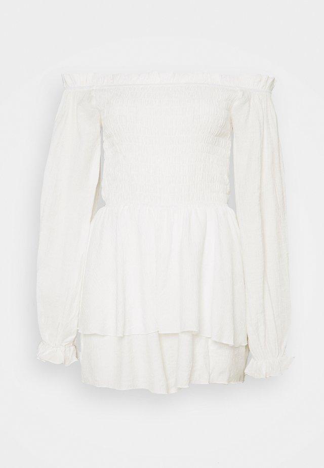 FLORAL FRILL BARDOT SHIRRED - Jumpsuit - cream
