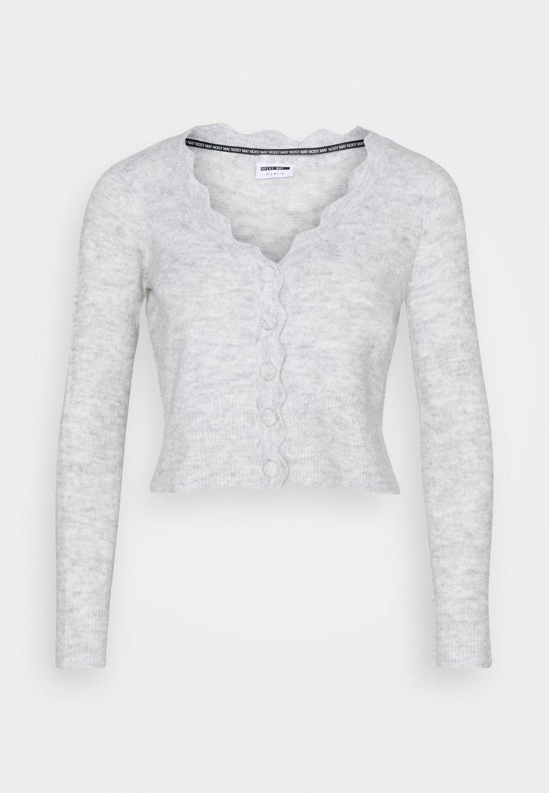 Noisy May Petite - NMMODE NECK SHORT - Cardigan - light grey / melange