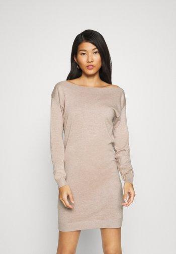 Jumper dress - dark tan melange