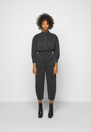 PLEATED BARREL LEG - Jumpsuit - washed black