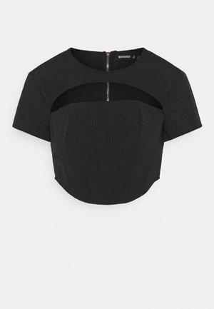 CUT OUT CORSET DETAIL - T-shirt z nadrukiem - black