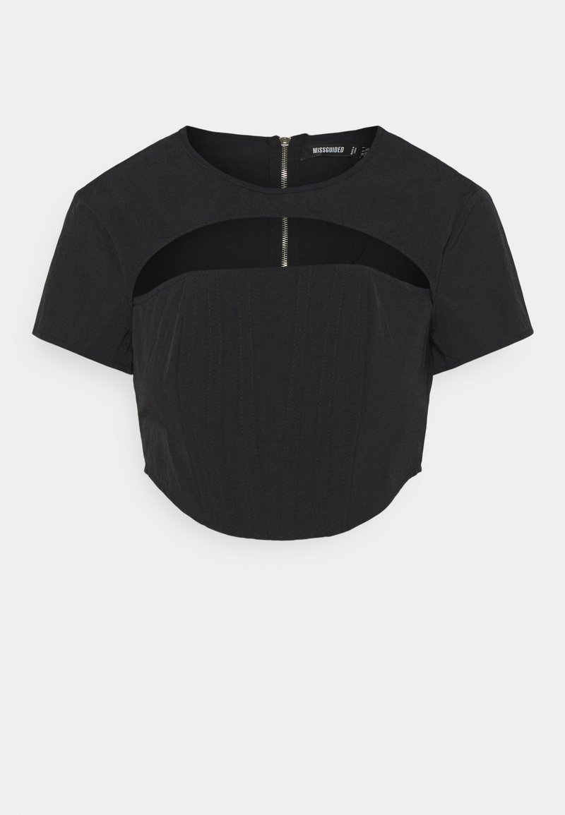 Missguided - CUT OUT CORSET DETAIL - Camiseta estampada - black