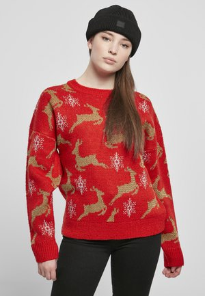 OVERSIZED CHRISTMAS - Trui - red/gold