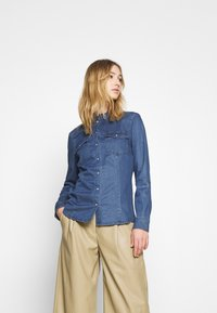 ONLY - ONLROCKIT LIFE - Button-down blouse - medium blue denim - 2