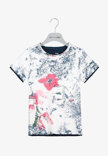 SUN ROUND - Print T-shirt - white-navy