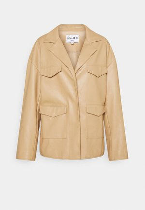 PATCH POCKET JACKET - Imitatieleren jas - beige