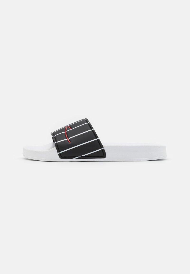 Karl Kani - SIGNATURE PINSTRIPE POOL SLIDES - Ciabattine - black/white
