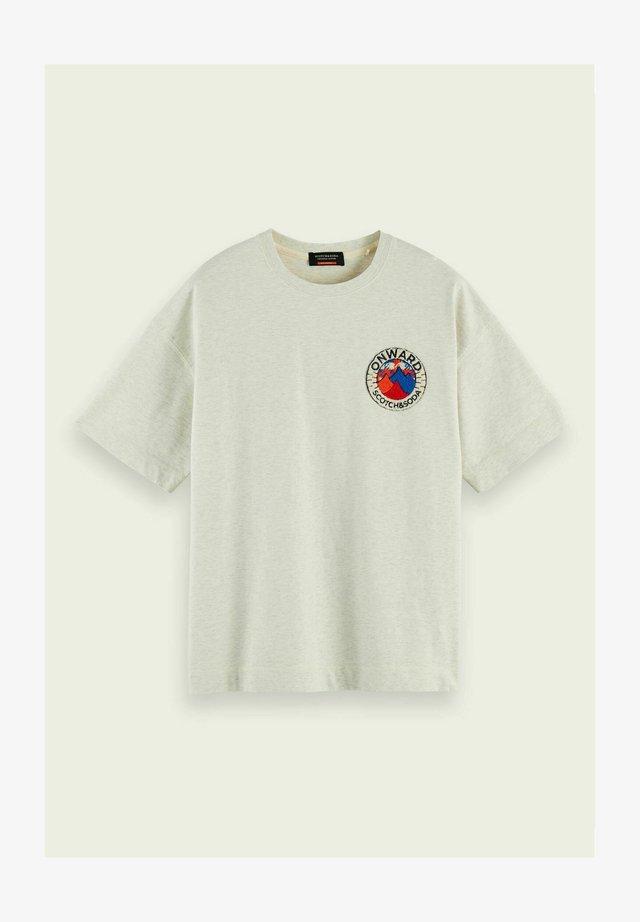 T-shirt print - ecru melange