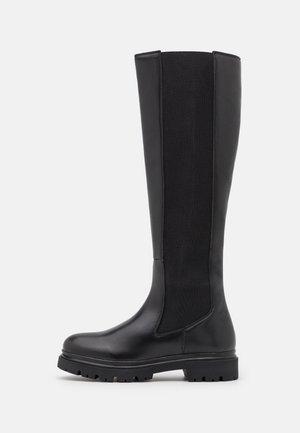 LEATHER  - Platåstøvler - black