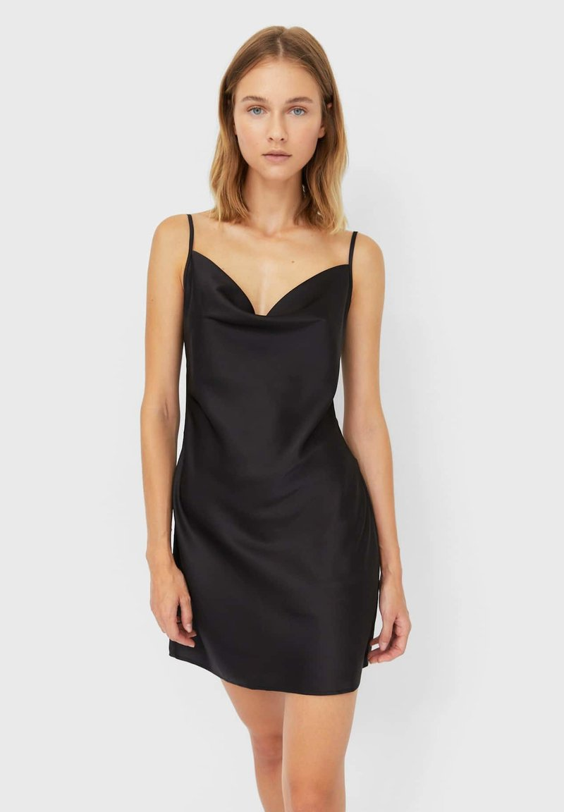 Stradivarius - KURZES SATIN - Day dress - black