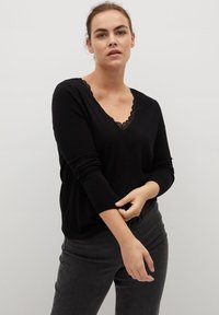 Violeta by Mango - LACE DETAIL - Sweatshirt - black - 0