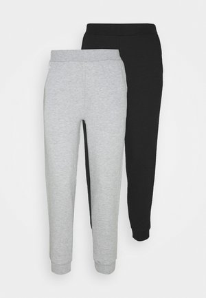 2PACK REGULAR FIT JOGGERS - Spodnie treningowe - black/light grey