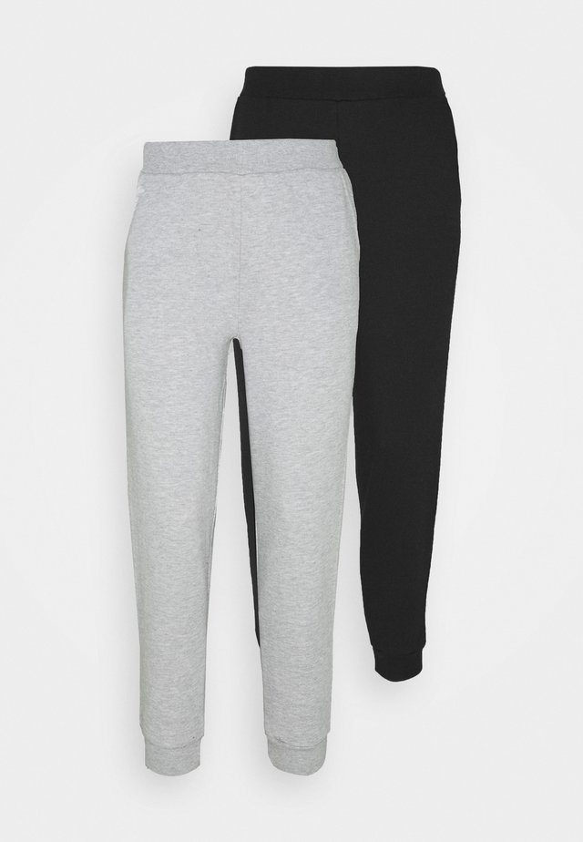 2PACK REGULAR FIT JOGGERS - Trainingsbroek - black/light grey