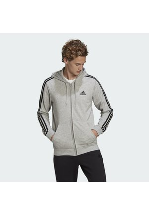 ESSENTIALS FRENCH TERRY 3-STRIPES FULL-ZIP HOODIE - veste en sweat zippée - grey