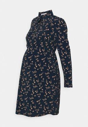 LONG SLEEVED COLLARED MINI DRESS - Shirt dress - navy/peach