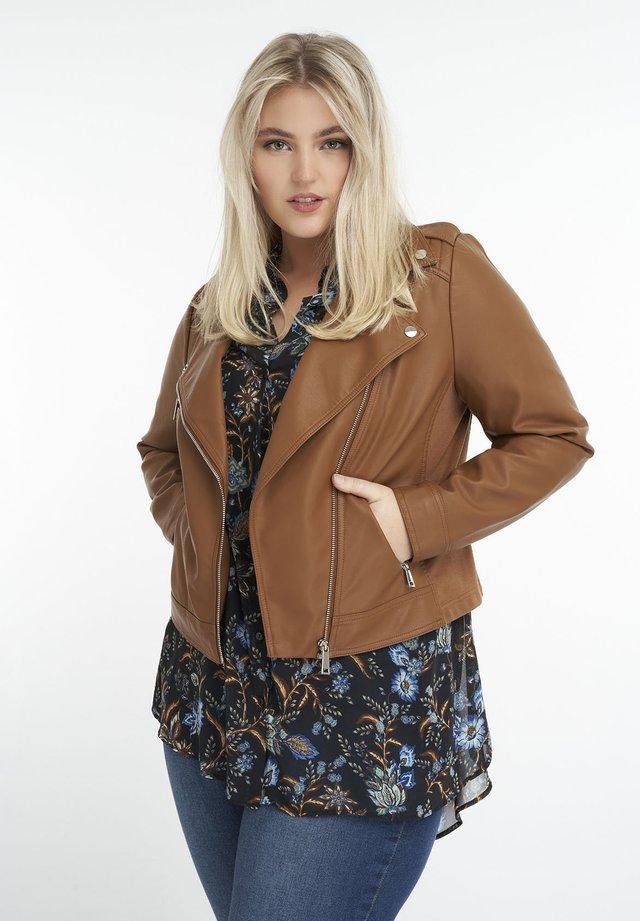 Faux leather jacket - cognac