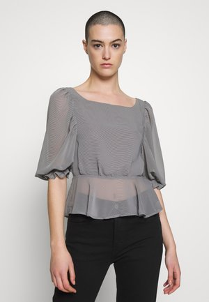 MICRO GINGHAM CHECK TIE BACK - Blouse - grey