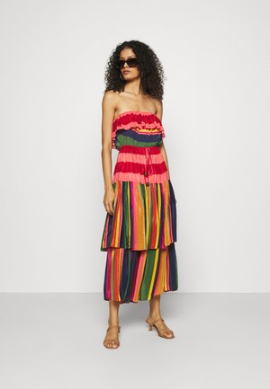 MIXED STRIPES STRAPLESS DRESS - Day dress - multi