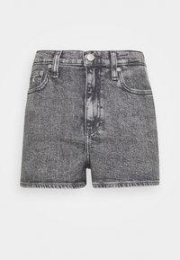 HIGH RISE - Denim shorts - grey tape