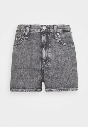 HIGH RISE - Shorts vaqueros - grey tape