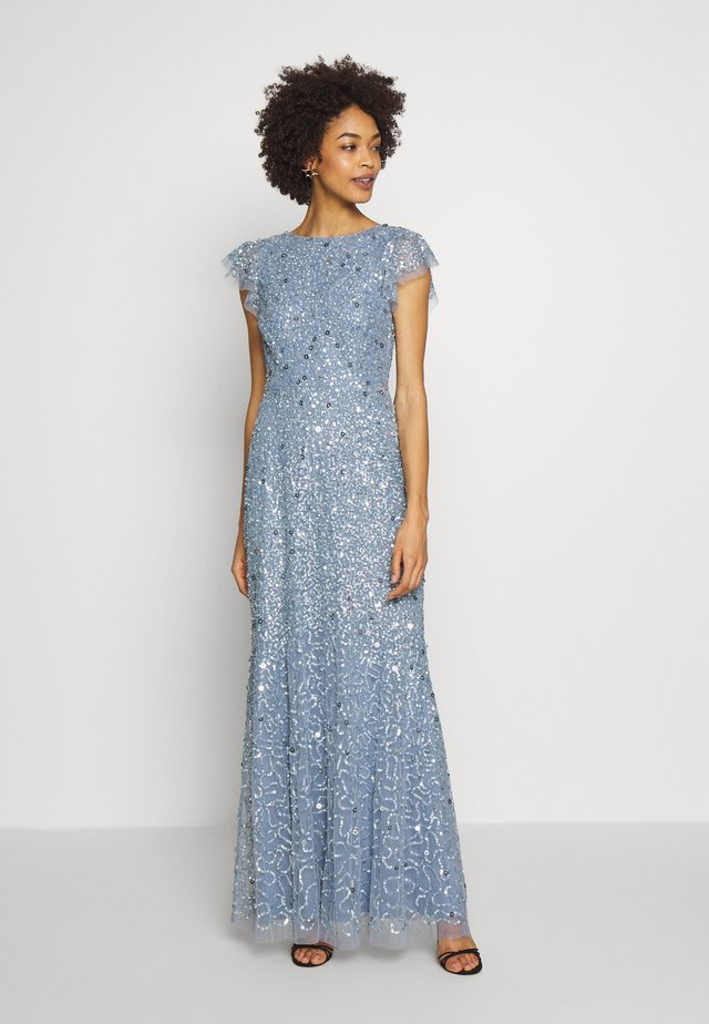 DIP BACK ALL OVER SEQUIN MAXI DRESS - Galajurk - dusty blue