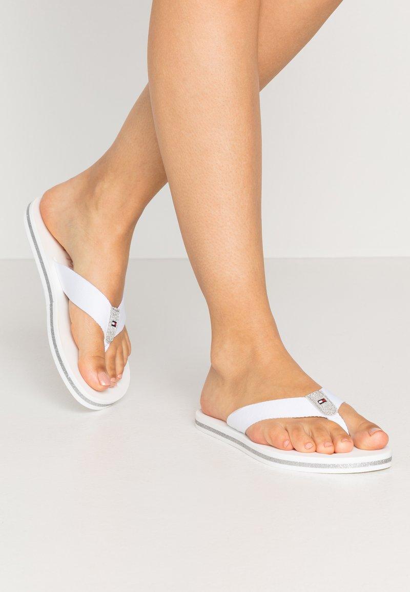 Tommy Hilfiger - GLITTER FLAT BEACH  - T-bar sandals - white