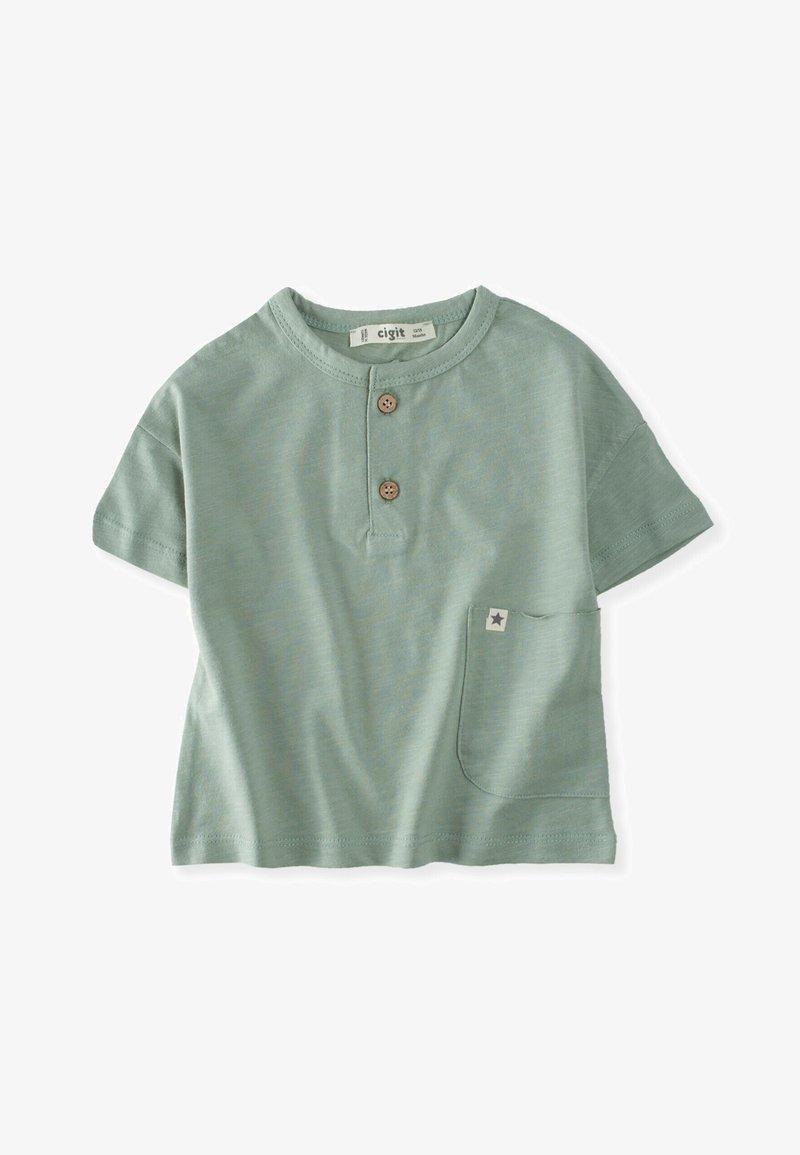 Cigit - POCKET - Print T-shirt - metallic green