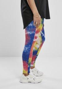 Urban Classics - TIE DYE HIGH WAIST  - Leggings - Trousers - royalblue/brightyellow - 4