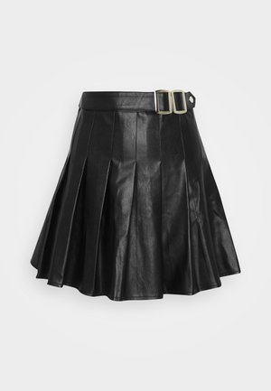 PLEATED BUCKLE SKIRT - Minijupe - black